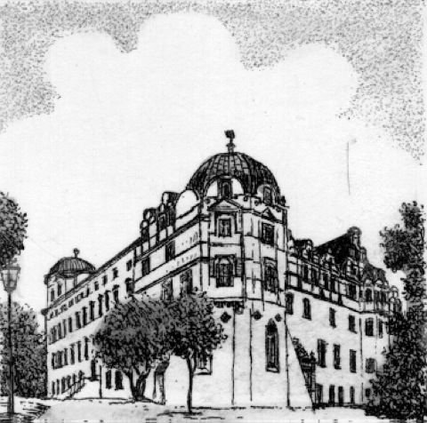 Einfarbige original Radierung Celle, Schloß von Henning als loses Blatt, Graphik, kein Kunstdruck, kein Leinwandbild