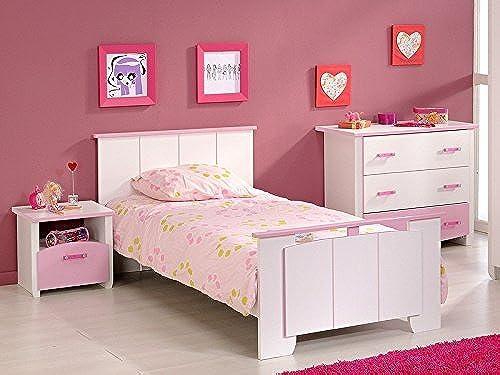expendio Kinderzimmer Beauty 3, 3-TLG. Weiß Rosa lackiert, Kinderbett, Nachttisch und Kommode