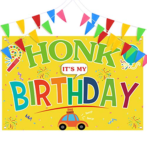 Honk It's My Birthday Quarantine Banner Yard Sign 71 x 48 Inch Large Hanging Lawn Flag Banner Backdrop and Multicolor Pennants Banner 26ft Nylon Flag for Girl Boy Outdoor Indoor