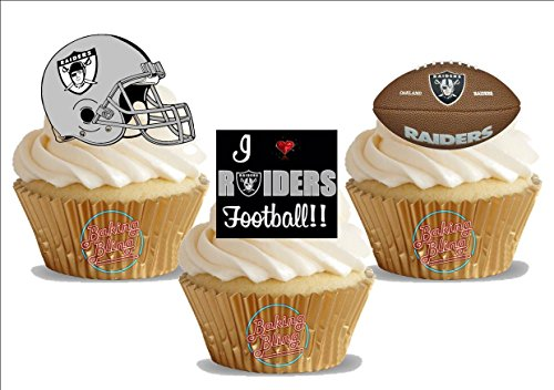 American Football Oakland Raiders Trio Mix- Fun Novelty Birthday PREMIUM STAND UP Edible Wafer Card Cake Toppers Decoration