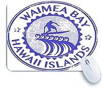 ECOMAOMI 可愛いマウスパッド ワイメアベイハワイの名前のグランジゴム印 滑り止めゴムバッキングマウスパッドノートブックコンピュータマウスマット