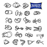Brain Teasers Metal Wire Puzzle Toys - Assorted Metal Puzzle Toys for Gifts, Party Favors, Prizes, Disentanglement Puzzle Unlock Interlock Toys - IQ Puzzle Brain Teaser Set of 24