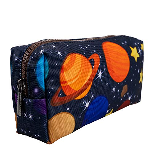 LParkin Space Canvas Student Galaxy Pencil Case Gifts for Boys Pen Bag Pouch Box Gadget Stationary Case Makeup Cosmetic Bag (Black)