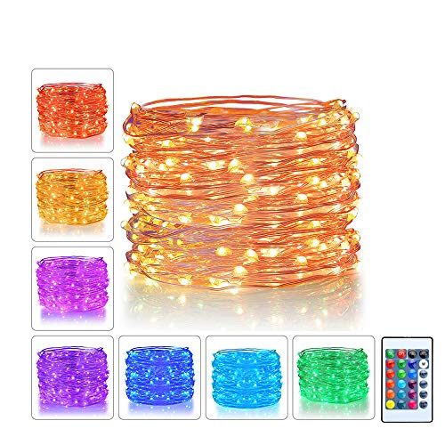 LED String Lights 10m 100 LEDs USB Powered 16 Multi Colors Changing Fairy String Lights with Remote for Indoor Bedroom Patio Outdoor Garden Decorations Copper Wire
