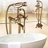 HY Bañera De Pie Antigua Cobre Bañera De Pie Chaise Set De Ducha Fría Y Caliente Suministros De Baño