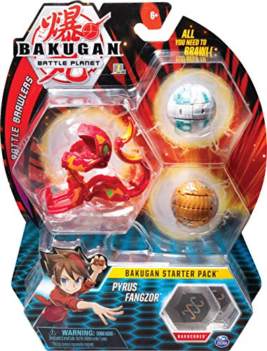 Bakugan Starter Pack mit 3 Bakugan (Ultra Pyrus Fangzor, Basic Aurelius Nillious, Basic Haos Mantonoid)