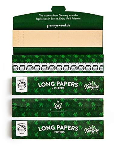 Granny's Long Papers extra Slim aus Hanfpapier mit Filtertips | 4 Stück | King Size | ungebleicht | 110 x 36 mm