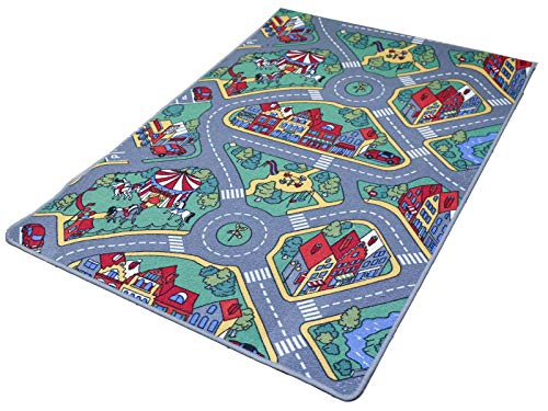 Carpe mathique® Spielteppich Raduno Strassenteppich Für Auto Teppich Kinderzimmer Junge - 80 x 120 cm