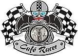 Vintage Cafe Racer Ton UP &-Bandiere a scacchi da uomo, motivo: vinile auto-adesivo vinilico per casco per Bobber ecc 90 x 65 mm