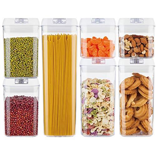 AMAZOM Recipientes Herméticos para Almacenamiento De Alimentos - 7 Recipientes De Plástico para Cereales Sin BPA - Fácil Bloqueo para Recipiente De Organización De Pasta De Cereales De Harina