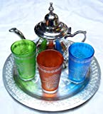 jeugo de té marroqui - 3 Vasos Mano de Fatima -Tetera para 3 + Bandeja repujada 25 cm de diamtero -Totalmente Artesanal by kenta artesanias (Verde,Naranja,Azul)