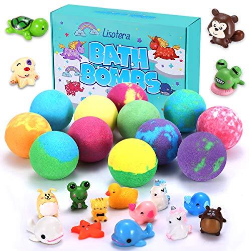 Bath Bombs for Kids with Surprise Inside for Girls Boys Suprise 12 Gift Set, Kids Safe Bubble Bath Fizzies Vegan Essential Oil Spa Fizz Balls Kit