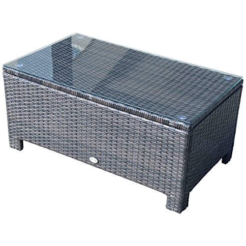 Outsunny Rattan Garden Furniture Coffee Table Patio Tempered Glass (Brown)