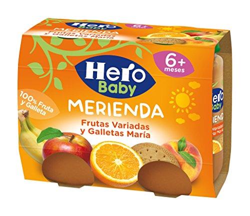 Hero Baby Merienda Puré de Frutas Variadas y Galletas María para Bebés a partir de 6...