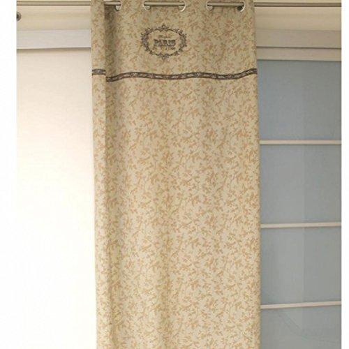 Soleil d'ocre 031722 Paris Rideau Coton Ecru 140 x 240 cm
