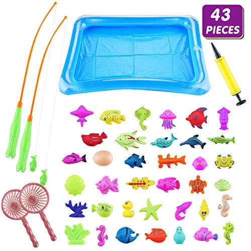 Surplex 43 Stück Magnetisches Angeln Spielzeug, Ozean Meerestiere Fisch Pool Party Spielzeug Badespielzeug Badewannenspielzeug Wasserspiel Perfekt Lernspiel Tolles Geschenk für Kinder ab 3 Jahre