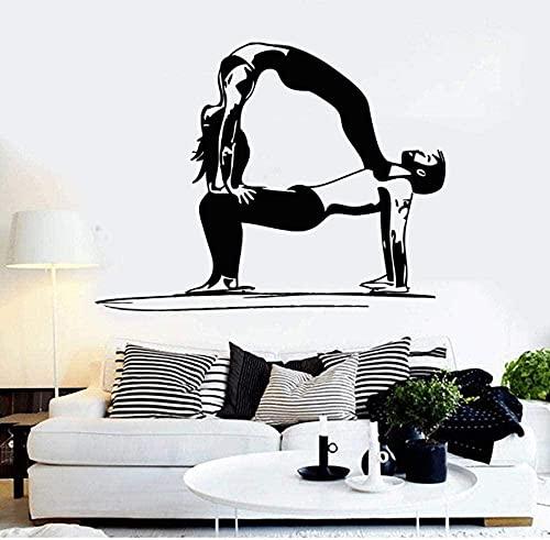 Vinilo de la pared de la pared de yoga pareja saludable vida deportes pegatinas muebles sala de estar decoración de la pared pegatinas de pared 75 * 57cm