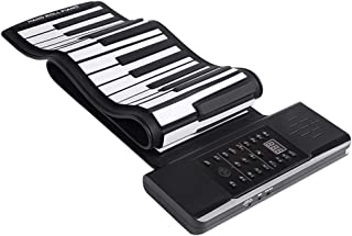 Hand-rolled Electronic Piano 61-key Portable Folding Keyboard Thickened Professional MIDI Digital Piano Pad (Color : Black...