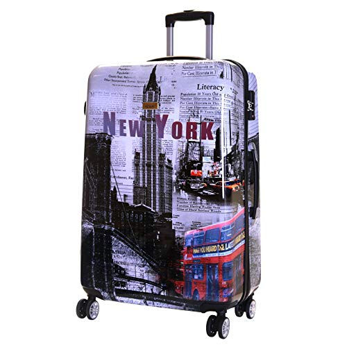 Karabar Hard Shell Extra Large Suitcase Luggage Bag XL 76 cm 4.5 kg 100 litres 4 Spinner Wheels with Integrated TSA Number Lock, Falla New York