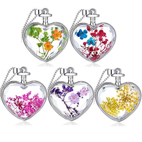 Unendlich U Fashion Klassisch Trockene Lavendel/kleine Blumen/Fünfblättrige Blätter Transparente Kristall Glas Herz/Quadrat/Rund Anhänger Damen Halskette(5 Stück)