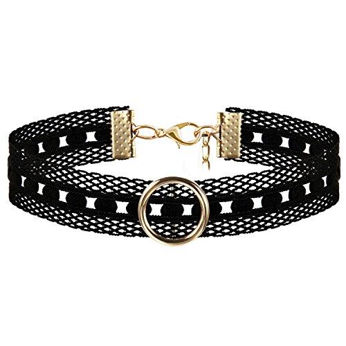 JewelryWe Schmuck Damen Choker Kette Kropfband Set schwarz mit O-Ring Anhänger Gold, Gothic Tattoo Stretch Samt Spitze Joker Halskette Halsband Lolita Sexy für Junge Frau und Mädel