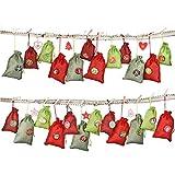 Kohmui Adventskalender zum Befüllen, 24 Stoffsäckchen Kette Set zum Selbstbefüllen Aufhängen, Jutesäckchen Stoffbeutel Beutel Säckchen, Boden mit 1-24 Zahlen für DIY Deco Weihnachtskalender