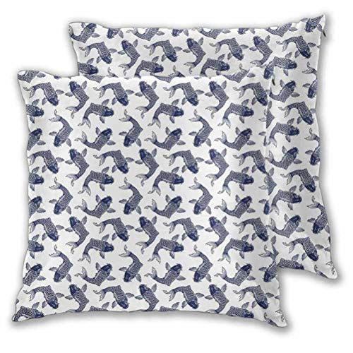 Koi Fish Cushion Case Farmhouse Pillowcase Carp Koi Sketch Drawing with Detailed Fish Scales Pattern Marine Life for Couch Sofa Home Decoration Navy Blue White 24' x 24', Set of 2