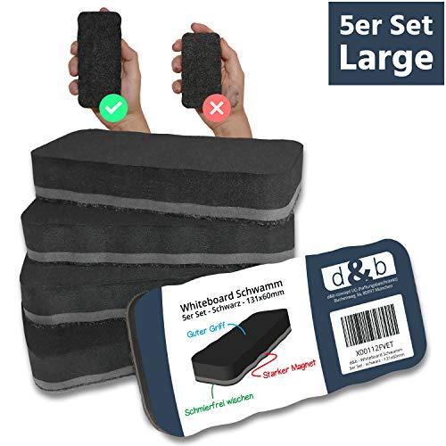 Whiteboard Schwamm Magnetisch XXL, 5er Set Schwarz, Extra Starker Magnet, 13x6 cm, Zuverlässiger Reiniger für Whiteboards, Whiteboard Zubehör