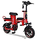 Electric Kick Scooter, City Electric Bike Parent-child Foldable Scooter , Adult Ebike with Seat 12'' Electric Bicycle Commuter Scooter 330 Lbs max load LCD Display, Dual Brake, LED Warning light,Red