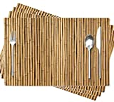 Soopat Bamboo Placemat,Bamboo Wall Texture Interior Wood Jungle Japanese Natural Asia Asian 18 X 12 Inches Set of 4 Place Mats for Dining Table Decor,Bamboo Interior 02