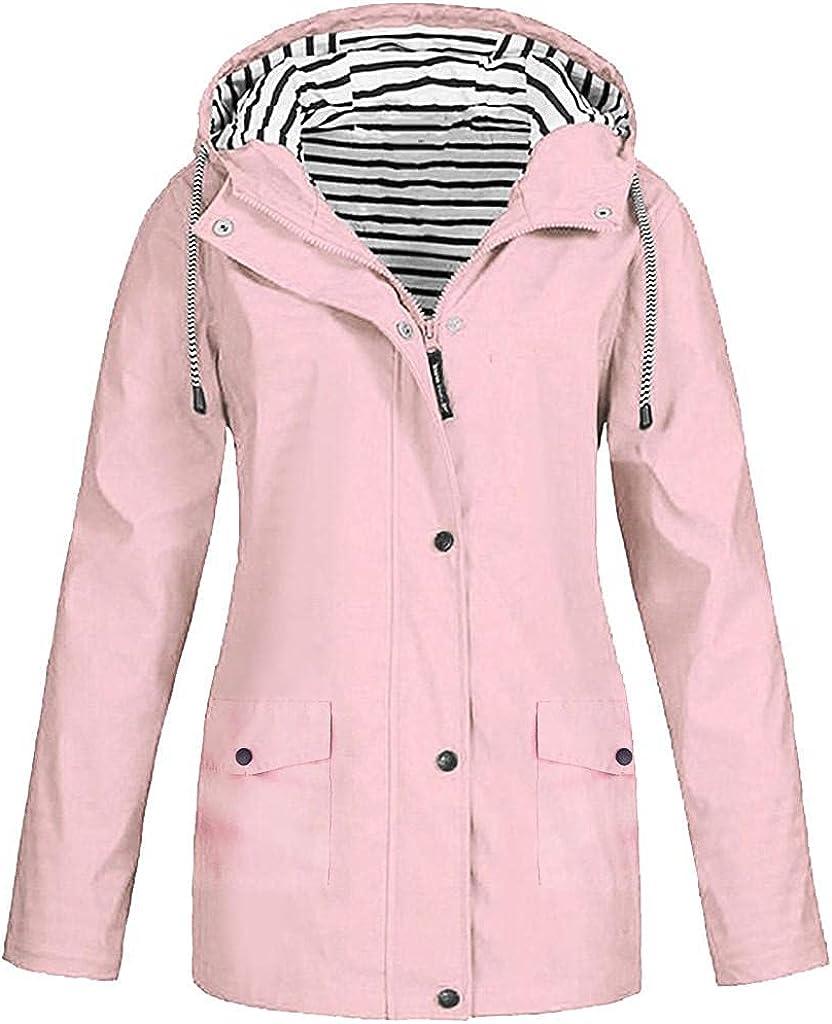 JPLZi Plus Size Raincoat Women Waterproof Long Hooded Trench Coats Lined Windbreaker Travel Jacket Outdoor Hooded Jackets