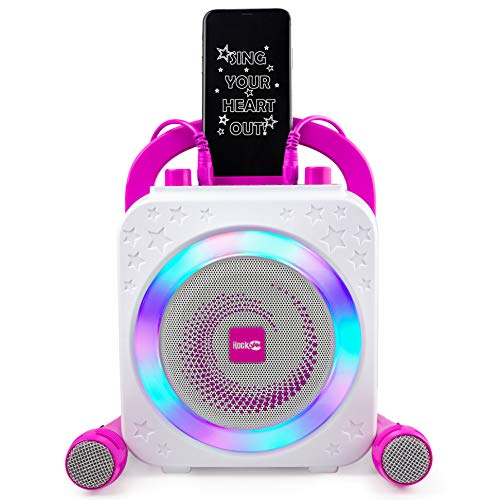 RockJam Party Karaoke Machine With Bluetooth, 10Watt Speaker & Two Microphones, Pink (RJPS150-PK)