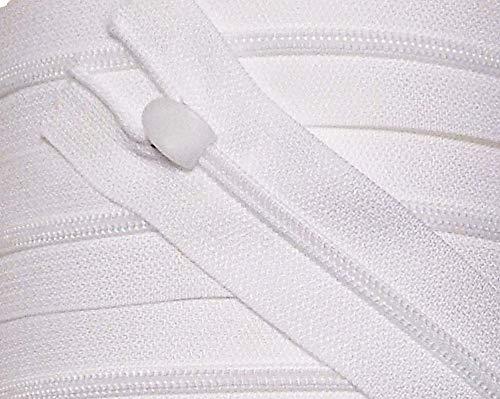 2 Reißverschlüsse für Bettwäsche Kunststoff Nicht teilbar 80 cm weiß mit Spezial Bettwäsche Schieber