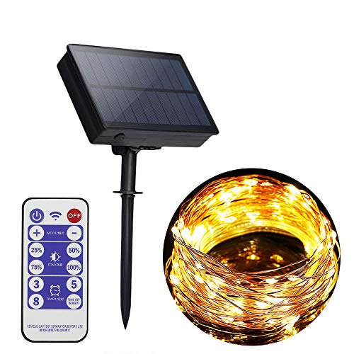 10M 100LED Solar Copper Wire String Lights 8 Modes Solar Fairy Lights Garden Solar Powered String Light Waterproof Wire Lights for Indoor Outdoor Christmas Tree Garden Decoration (Warm White)