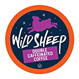 Wild Sheep High Caffeine (Double Caffeinated) Coffee Pods, Compatible with Keurig K-Cup Brewers, Extra Caffeine in Recyclable Cups, 40 Count