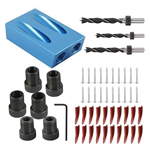 54 Stück Pocket Hole Jig Kit,15°Winkel Tasche Loch Jig Schrägloch Positionierer 6/8/10 mm für Holzbearbeitung Bohren Löcher Guide (Set 1)
