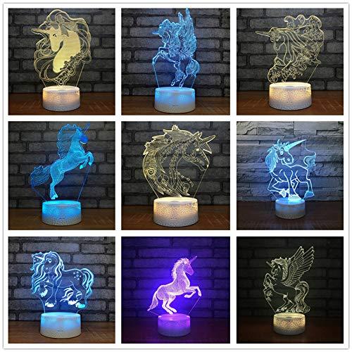 Einhorn DIY Party Hochzeit Neujahr 3D LED Nachtlicht USB Tischlampe Kinder Geburtstagsgeschenk Nachttisch Dekoration