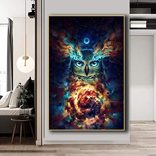 Douwert Lienzo Pintura Abstracta Surrealista Colorido Animal Cartel Arte Cartel búho Imagen Carteles para habitación de niños sin Marco 50x70cm