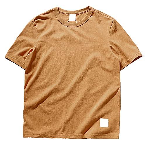 N\P Camiseta de manga corta de cuello redondo de color sólido absorbente de sudor para hombre