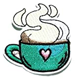 Nipitshop Patches Coffee Cup Hot Drink Patch Coffee Expresso Cappuccino Cartoon Kids Patch Symbol Jacket T-Shirt Patch Sew Iron on Embroidered Sign Badge Costume