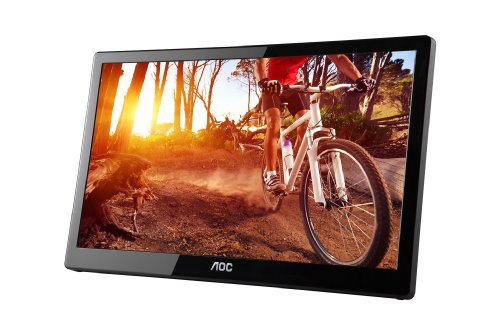 AOC e1659Fwu 15.6-Inch Ultra Slim 1366x768 Res 200 cd/m2 Brightness USB 3.0-Powered Portable LED Monitor w/ Case Black