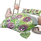 Nomorer Composición Floral Lavable a máquina de Encargo del lecho del Batik del tamaño Gemelo Determinado de la sábana