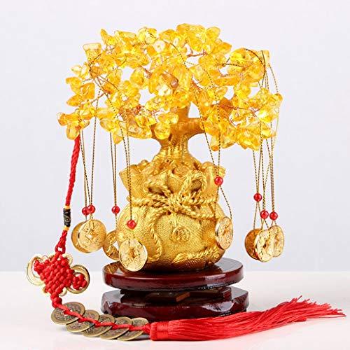 NYKK Ornamento de Escritorio Feng Shui Citrino/Citrino árbol del Dinero y Citrino árbol Grifo de Cristal del árbol Chino del Regalo del árbol Talega artesanías decoración