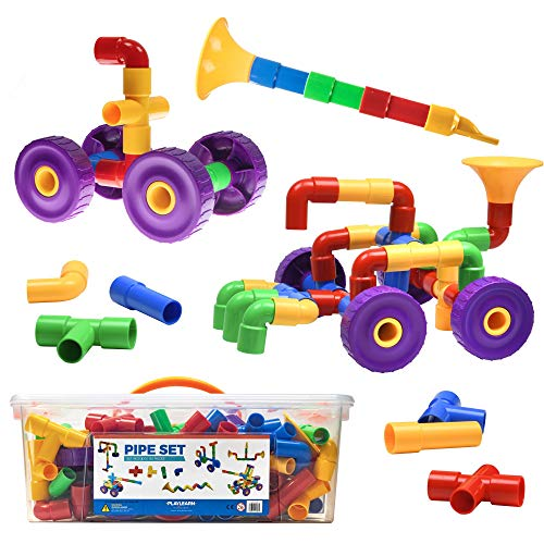 Playlearn Large Size Pipe Tube Blocks for Kids – Fine Motor STEM Toy for All Ages – 128 Pieces