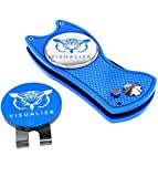 VISUALIZE Talon Plus Premium Switchblade-Style Divot Repair Tools - Golf Accessories - Golf Divot Tool with Silicone Owl Golf Ball Marker with Hat Clip - 4-in-1 Multi Tool Kit (Blue)