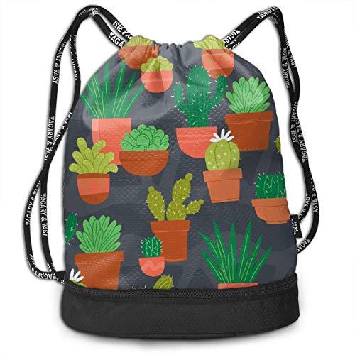 Petrichor Yi Unisex trekkoord rugzak cactus bloempot sport gym reizen bundel rugzak tas
