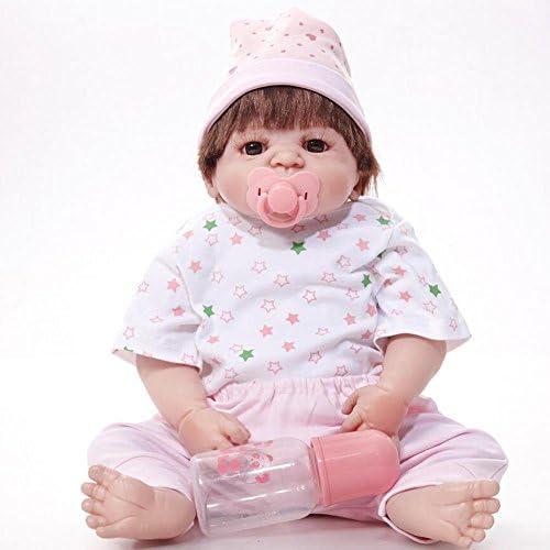SHTWAD Realistische Reborn Puppe Mit Kleidung Voller Silikon Magnetic Schnuller Geburtstag Festival Geschenk Kind Spielen Spielzeug 21.6 Zoll 55cm
