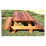 Wood components 6 ft. Redwood Picnic Table with Attached Benches