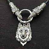 SBRTL Wikinger Wolf Kopf Anhänger Halskette Norwegische Piraten Amulett Herren Antik Silber,40cm