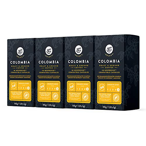 Marca Amazon - Happy Belly Select Café molido de tueste natural de Colombia en cápsulas compatibles con Nespresso, 4 x 20 cápsulas